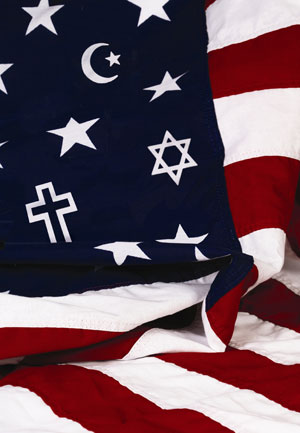 american flag with different religious symbols