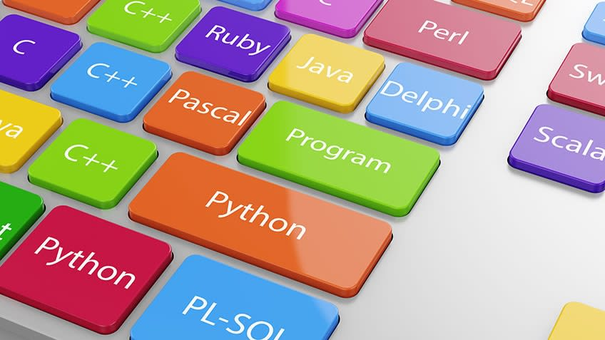 Buttons written names of various programming languages