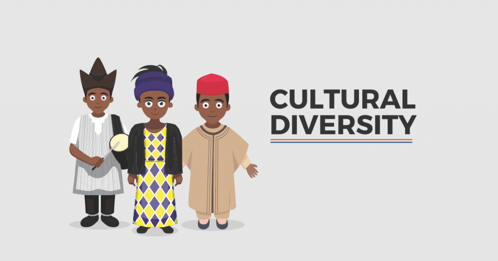 A poster with drawing of three people written CULTURAL DIVERSITY