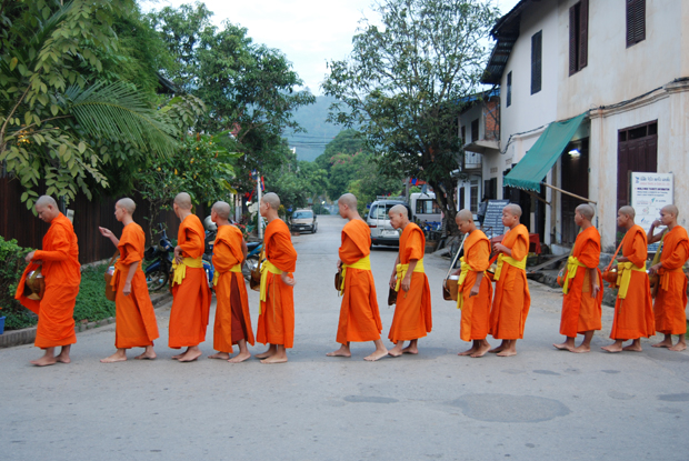 Monks queuing in a straight line wearing orange gowns