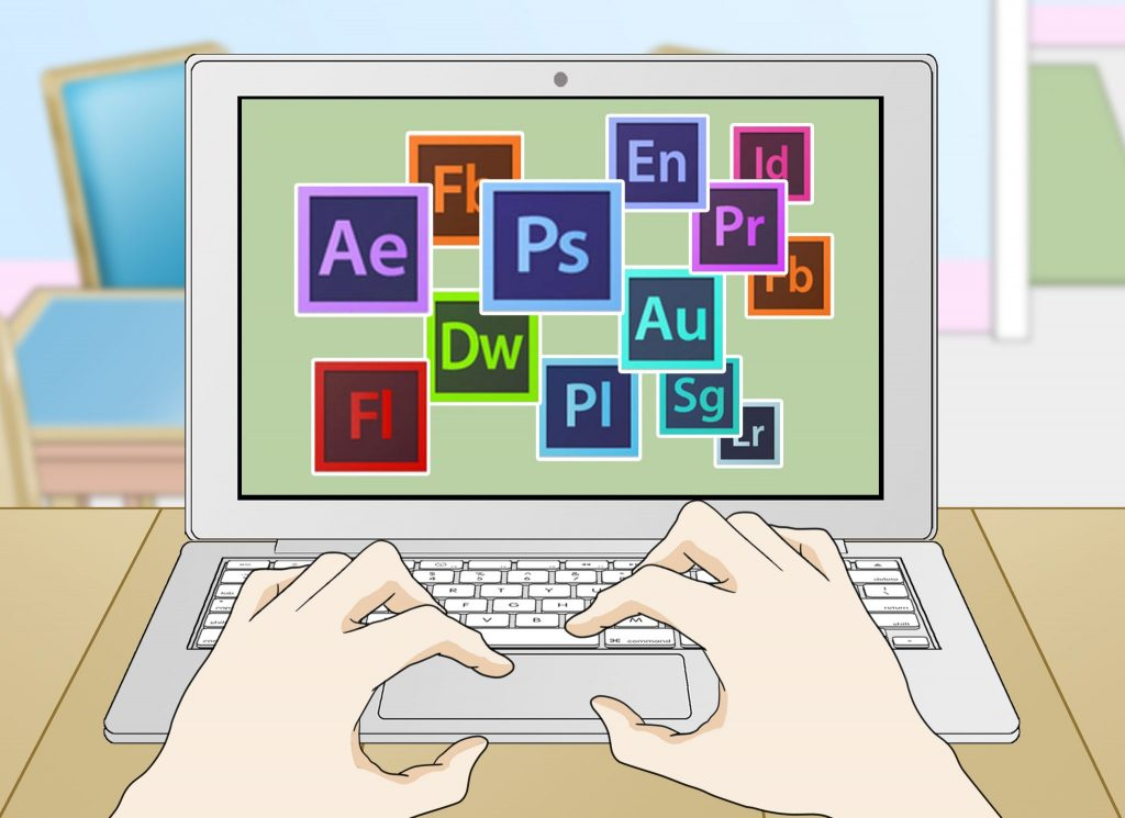 cartoon of different editing software logos on computer