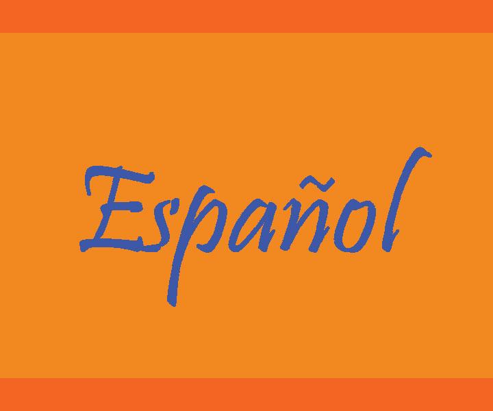 An orange background written Espanol