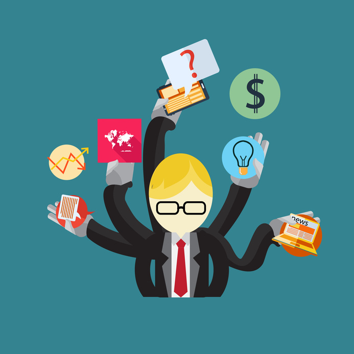 A man with multiple arms trying to balance business objectives represented by icons like a lightbulb, money sign, laptop, graphs.