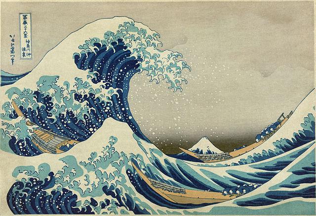 wave woodcut