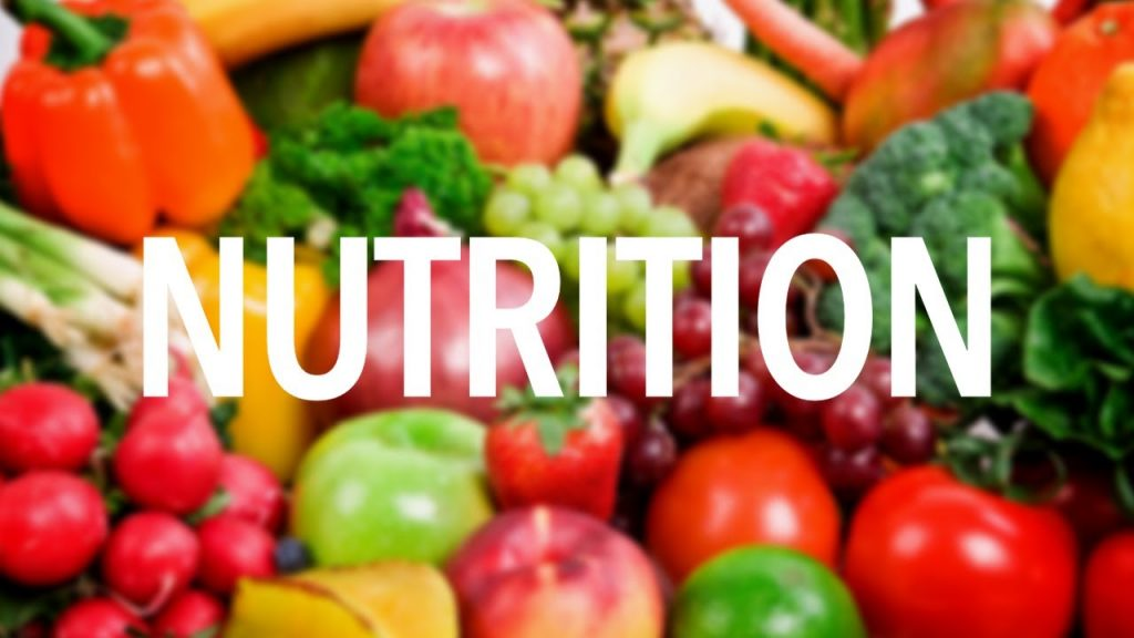 A picture of various vegetables with the word nutrition on top