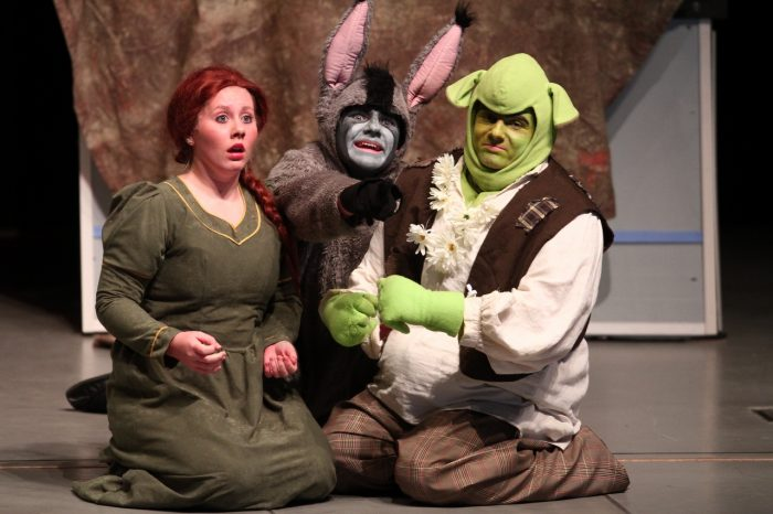 Actors with shrek costumes performing on a stage