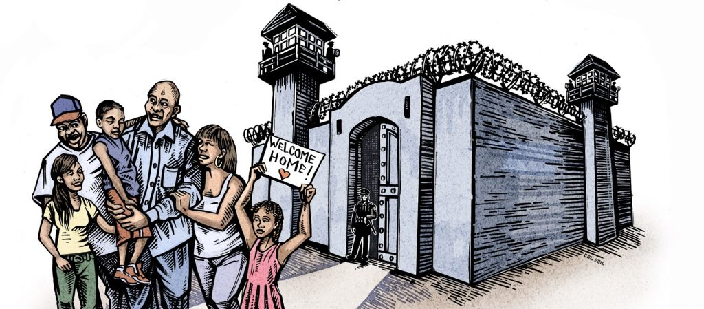 a family gathered around in front of a prison, hugging a family member who is out