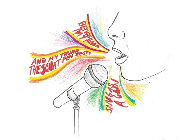 Picture of illustration showing person speaking into microphone with colourful words representing poetry.