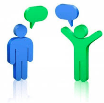 picture of iconed people communicating through speech bubbles
