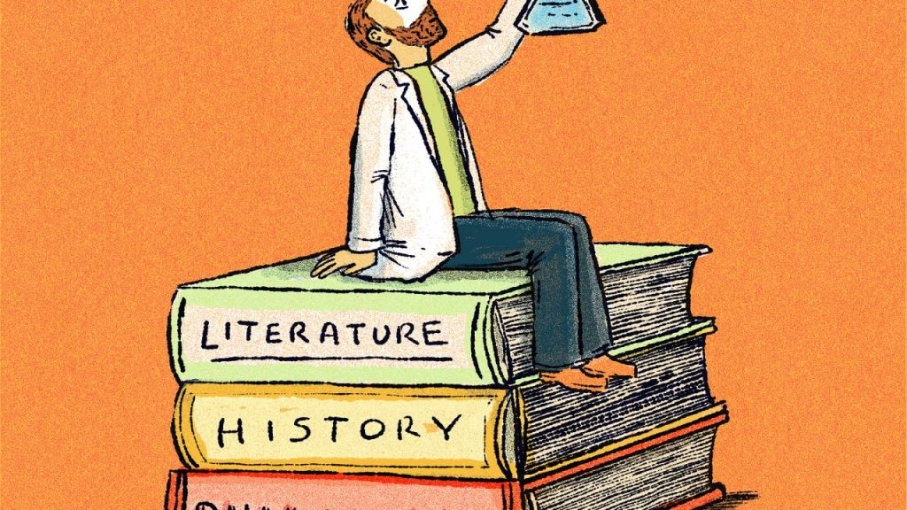 cartoon of a man on a stack of books