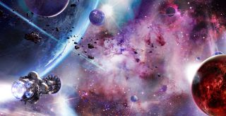 Fictional spacecrafts moving through a colorful outer space scene