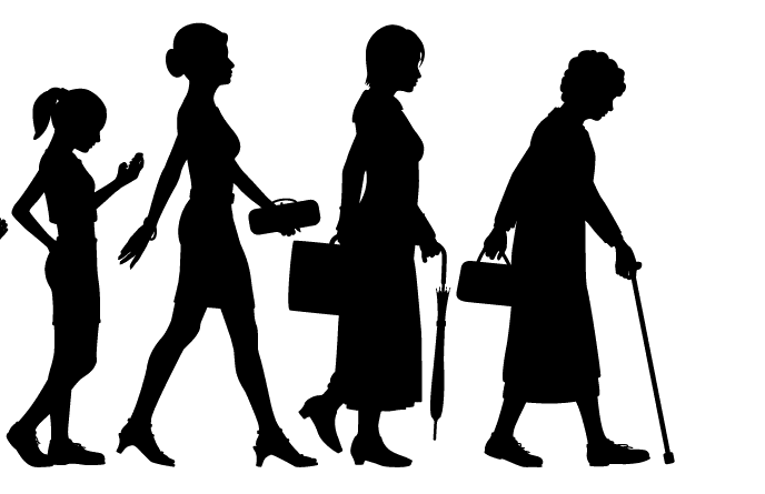 A drawing of women  at different ages