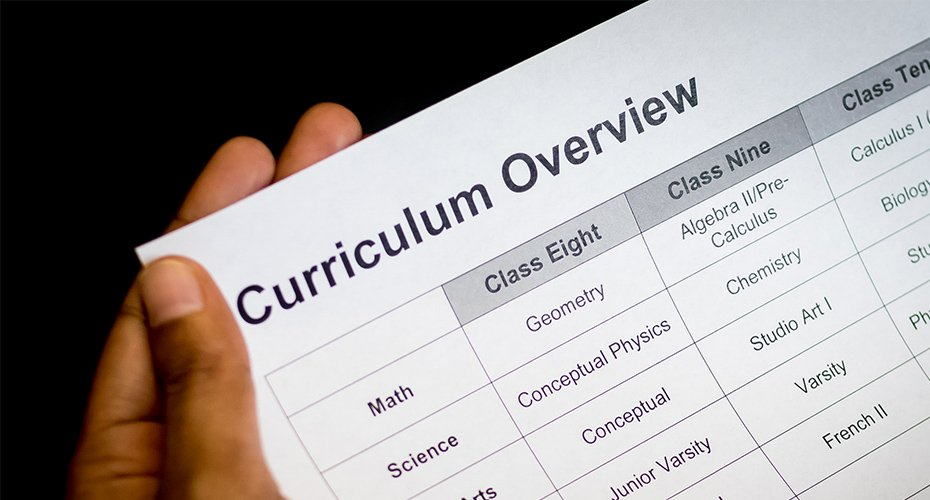picture of hand holding paper with curriculum overview on it