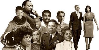 A collage of important African American people in history