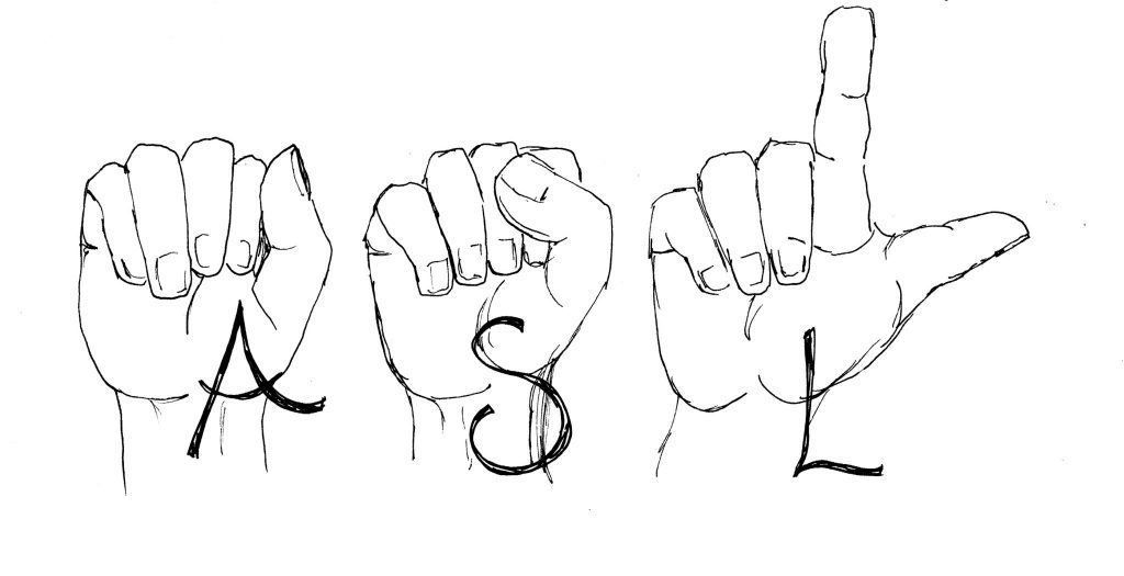 """sketch of """"ASL"""" (stands for American Sign Language) in fingerspelling"""