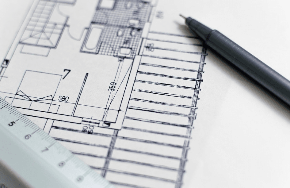 architectural drawing with pen and ruler