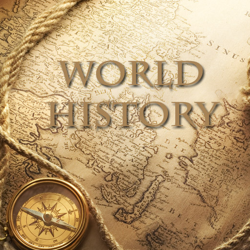 An image of an old map of the world written WORLD HISTORY
