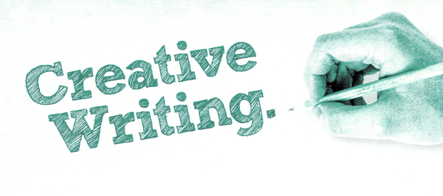 A poster written Creative Writing written and a picture of a hand writing