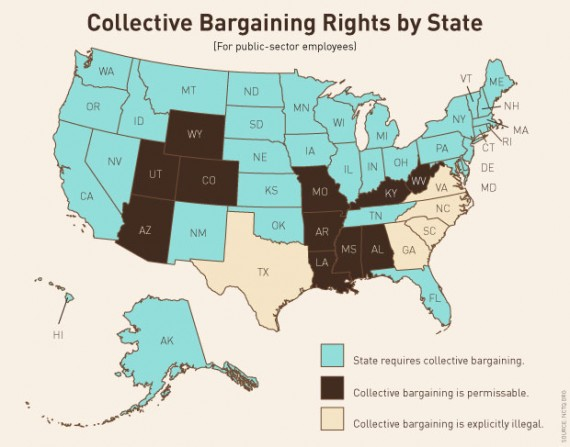 A map of collective bargaining laws in each state in the US.