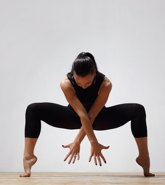 A female dancer performing a move