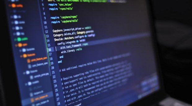 a long string of code on a computr screen