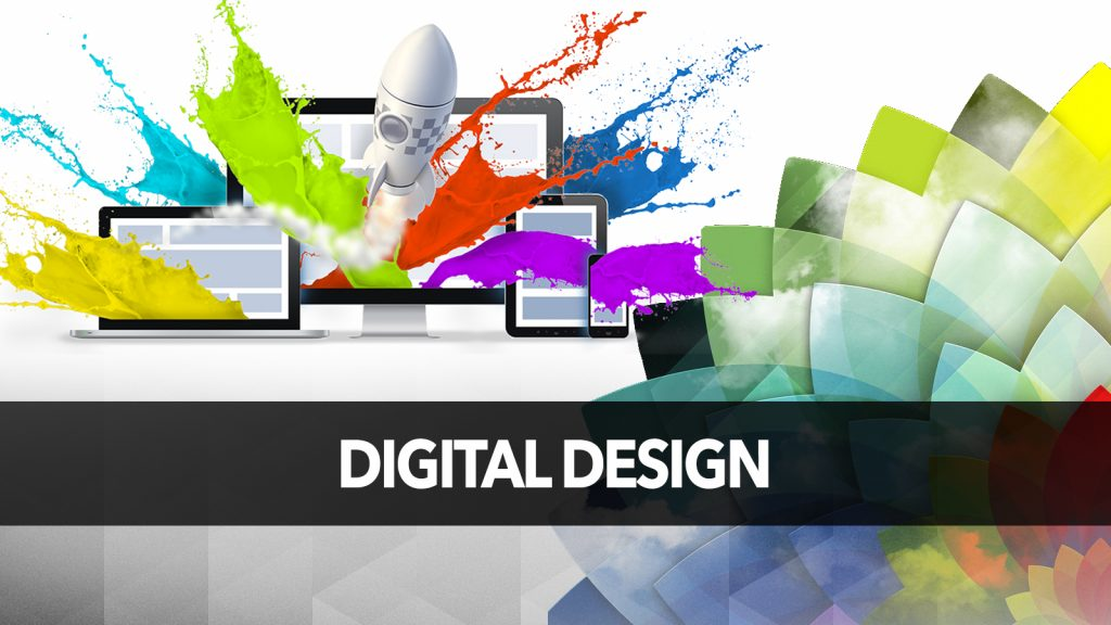 A poster written DIGITAL DESIGN with computers and graphics in the background