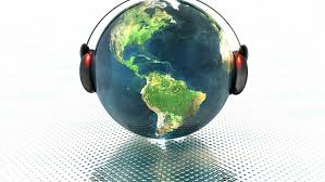 An image of the world with headphones