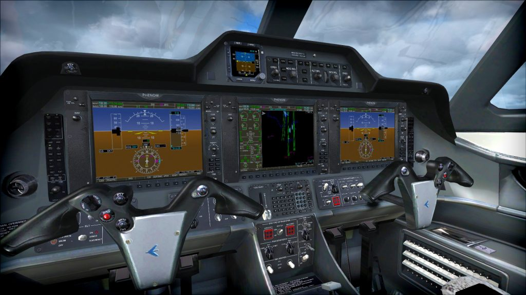 Illustration of a flight simulator.