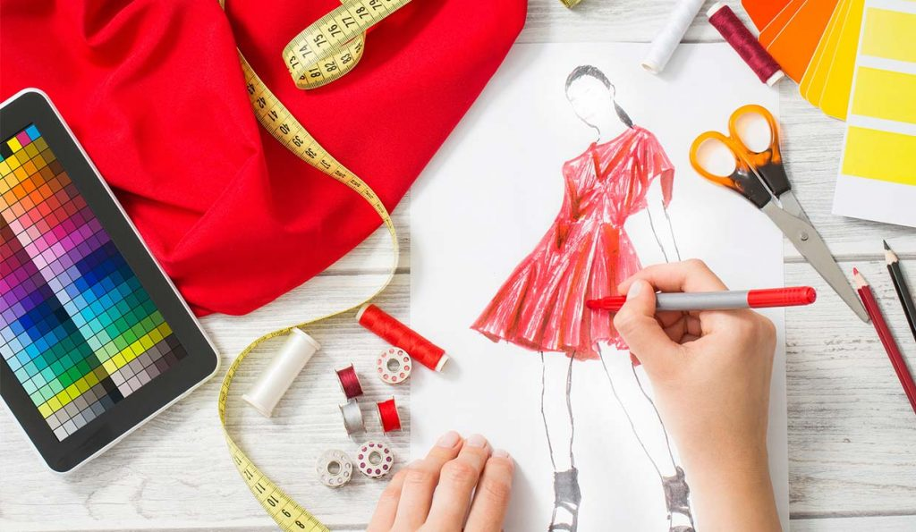 A fashion designer working on a design