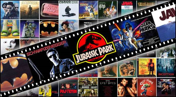 This is an image of a collage of classic Hollywood films.