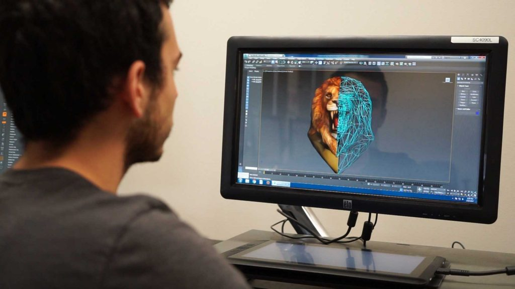 man designing lion character for game on 3D animation software