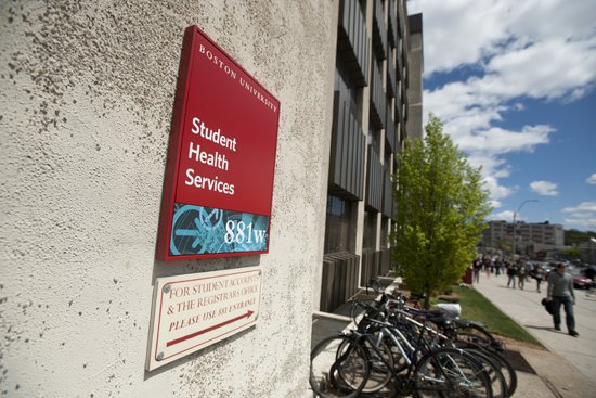 Boston, Massachusetts Student Health Services sign for BU Today story on the creation of a rape crisis center.