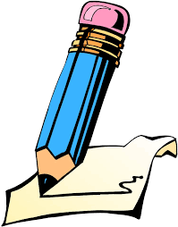 icon cartoon of a large pencil writing on a paper