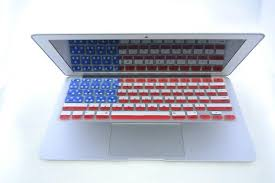 A laptop with the keyboard deigned as the American Flag