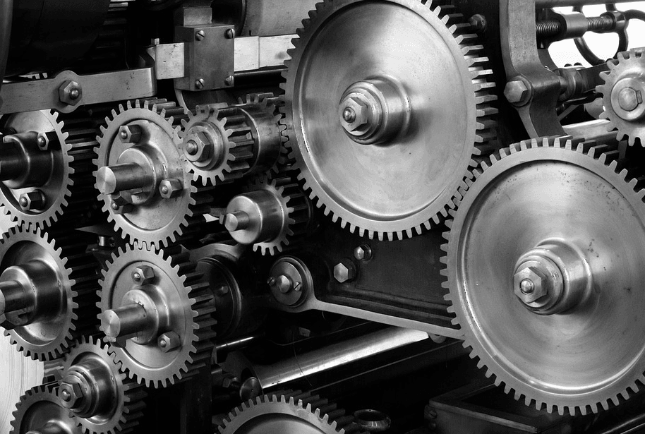 industrial screws and turning wheels