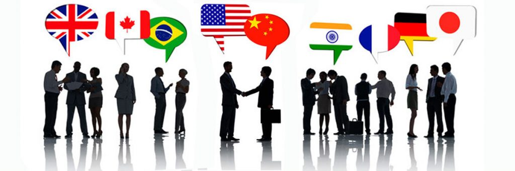 different country flags and group of business people engaging in conversation