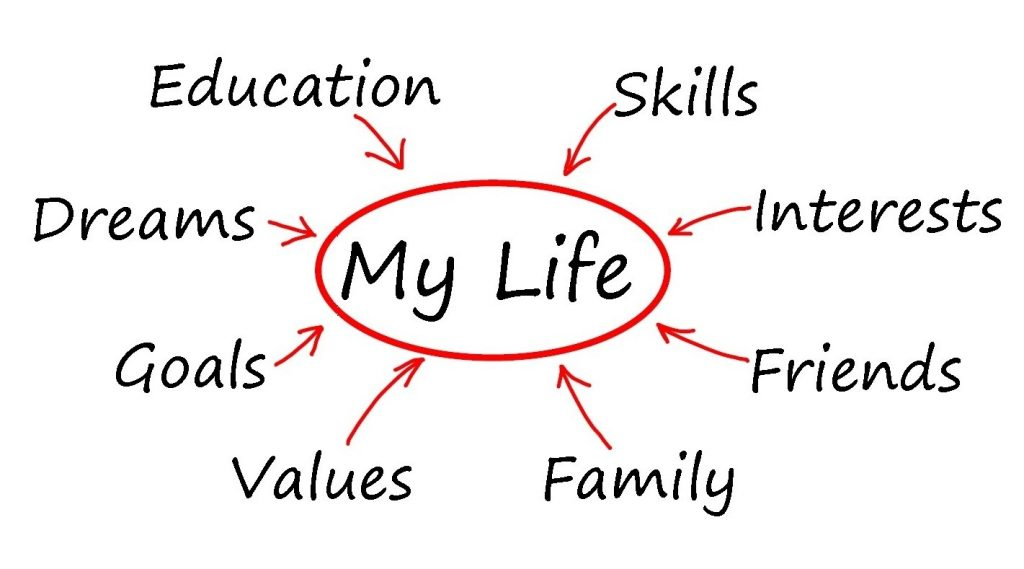 Diagram of important things in one's life including education, skills, dreams, goals, etc.