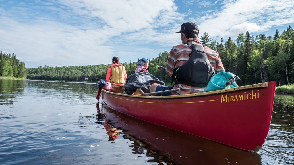 Image of people in a canoe in the wilderness.