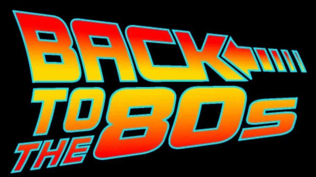 A Back to The Future font of the 80s sign