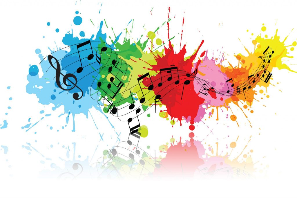 music notes on color splats