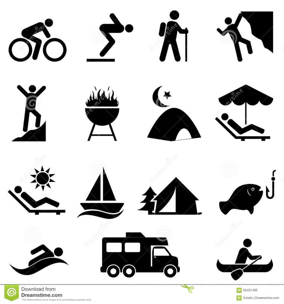 A picture list of different kinds of leisure activities humans can do everyday.