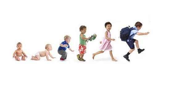 A timeline of humans from infancy to preschoolers from left to right