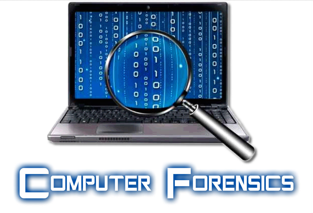 A poster Written Computer Forensics and the picture of a laptop with numbers on it