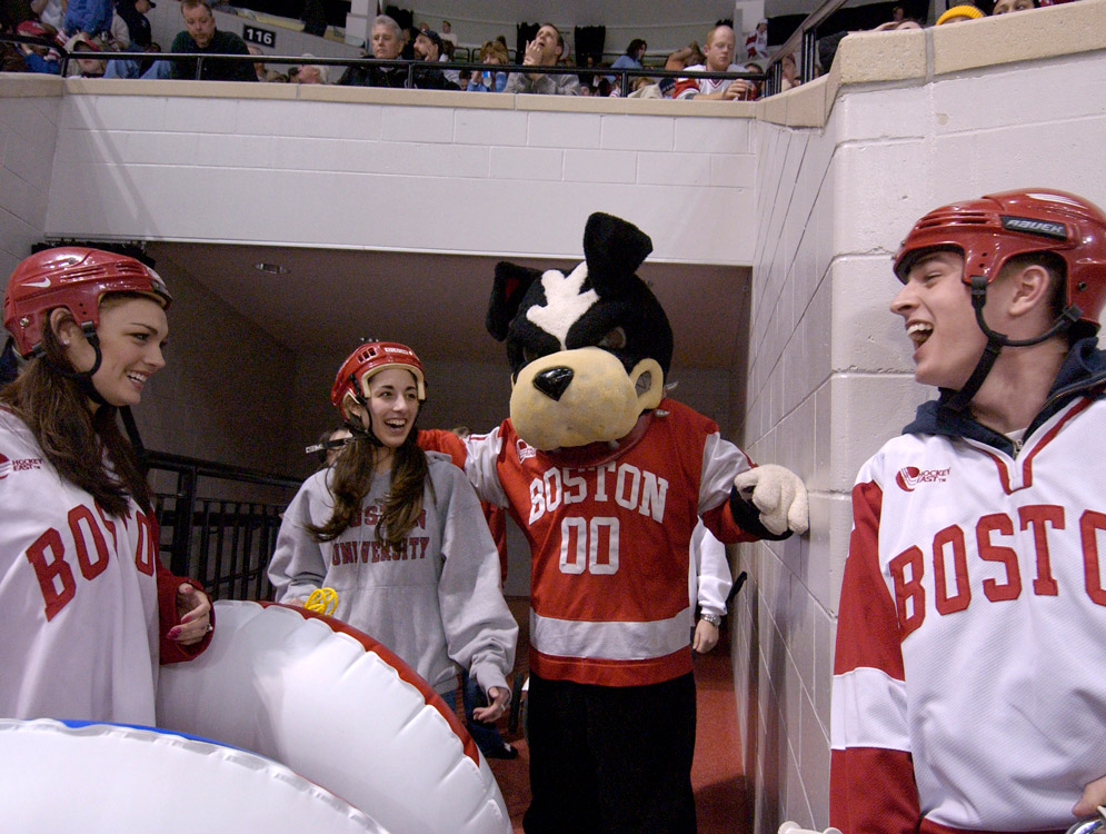 picture of boston terrier mascot with hockey players