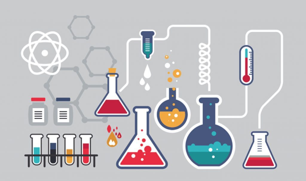 cartoon of science and beakers
