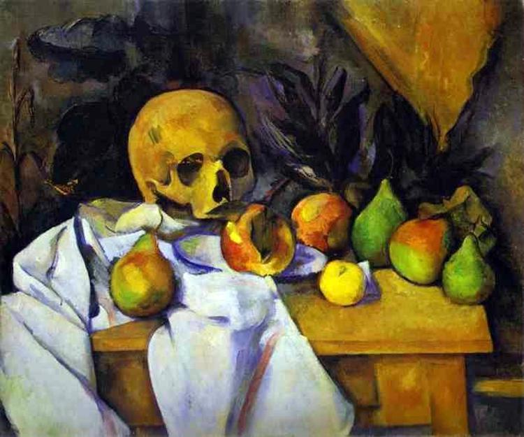 A still life painting of fruit and a skull on a wooden table.