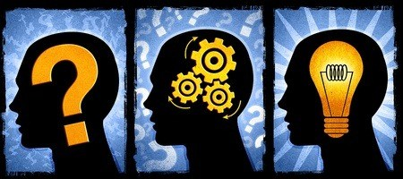 computer-generated images of human heads, one with a question mark, one with cogs and another with a lightbulb