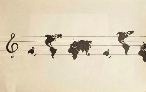 an image of the world's continents on music lines