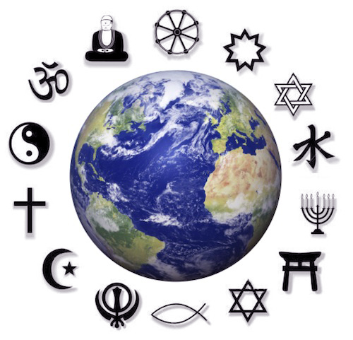 An image of the world surrounded by symbols of major religions in the world
