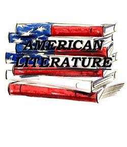 A drawing of a pile of books in colors of the American flag